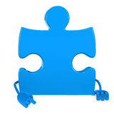 Puzzle figure point. Puzzle jigsaw blue figure point hand finger Stock Photos
