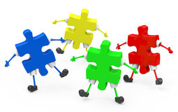 The puzzle figures. 3d generated picture of some colorful puzzle figures Stock Photography