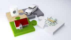 Puzzle finance credit. House car money finance concept image (3d render Stock Images