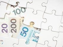 Puzzle finanziario polacco Fotografie Stock