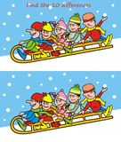 Puzzle, find ten differences. Children and sleigh Stock Photo