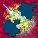 Puzzle on fire. Fiery structure with two objects stock illustration