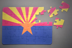 Puzzle with the flag of arizona state Royalty Free Stock Photo
