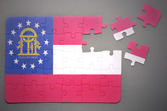 Puzzle with the flag of georgia state Royalty Free Stock Photography