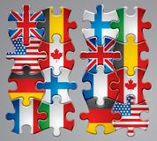 Puzzle flag icons. Isolated raster version of vector set of puzzle flag icons 1 (contain the Clipping Path of every object) There is in addition a vector format