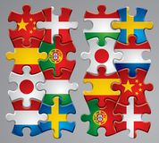 Puzzle flag icons. Isolated raster version of vector set of puzzle flag icons 2 (contain the Clipping Path of every object) There is in addition a vector format