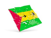 Puzzle flag of sao tome and principe isolated on white. 3D illustration Royalty Free Stock Images