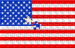 Puzzle with flag USA Royalty Free Stock Images