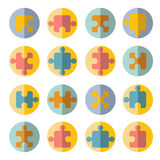 Puzzle flat icon set Stock Images