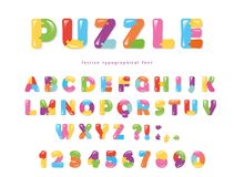 Puzzle font. ABC colorful creative letters and numbers. Vector illustration Stock Images