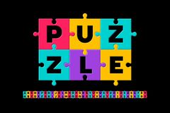 Puzzle font. Colorful jigsaw puzzle alphabet letters and numbers, vector illustration vector illustration