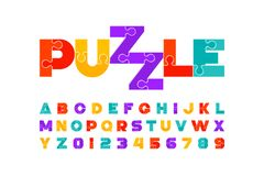 Puzzle font. Colorful jigsaw puzzle alphabet letters and numbers stock illustration