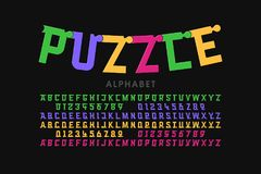 Puzzle font stock illustration