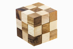 Puzzle in the form of wooden blocks Stock Photography