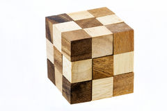 Puzzle in the form of wooden blocks Royalty Free Stock Photos