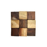 Puzzle in the form of wooden blocks Royalty Free Stock Photo