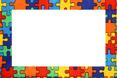 Puzzle frame with space to write your text Royalty Free Stock Images