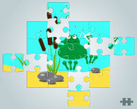 Puzzle a frog resting on holidays Stock Photography
