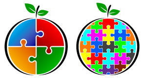 Puzzle fruit logo Royalty Free Stock Image