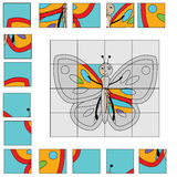 Puzzle game with butterfly. Kids activity sheet Royalty Free Stock Image