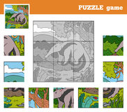Puzzle Game for children with animals (anteater) Royalty Free Stock Photo