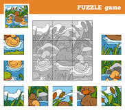Puzzle Game for children with animals (ducks). Nine pieces Royalty Free Stock Photo