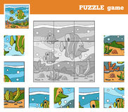 Puzzle Game for children with animals (fish family). Nine pieces Royalty Free Stock Images