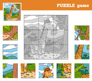Puzzle Game for children with animals (giraffe). Nine pieces Royalty Free Stock Images