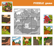 Puzzle Game for children with animals (hedgehog) Royalty Free Stock Image