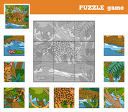 Puzzle Game for children with animals (jaguar) Royalty Free Stock Image