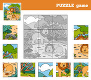 Puzzle Game for children with animals (lions). Nine pieces vector illustration