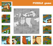 Puzzle Game for children with animals (owl) Stock Photos