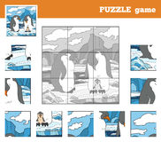 Puzzle Game for children with animals (penguin family) Royalty Free Stock Photos