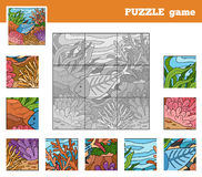 Puzzle Game for children with animals (x-ray fish). Nine pieces Stock Photos