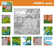 Puzzle Game for children with animals (rhino) Royalty Free Stock Photography