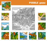 Puzzle Game for children with animals (turtle) Royalty Free Stock Photo