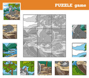 Puzzle Game for children with animals (wolf family) Stock Image