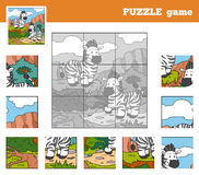 Puzzle Game for children with animals (zebra) Royalty Free Stock Photo
