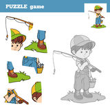 Puzzle Game for children with the boy fisher Stock Photography