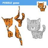 Puzzle Game for children, cat Stock Photos