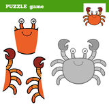 Puzzle Game for children, crab Stock Images