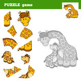 Puzzle Game for children, giraffe family Royalty Free Stock Image