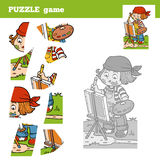 Puzzle Game for children with the girl artist Royalty Free Stock Image