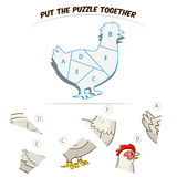 Puzzle game for children hen chicken Stock Image