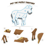Puzzle game for children horse Royalty Free Stock Image