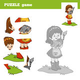 Puzzle game for children, little girl and small cat. Puzzle game for children (little girl and small cat), education game Stock Image
