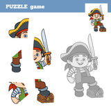 Puzzle Game for children, pirate boy and chest of treasure Royalty Free Stock Photography