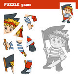 Puzzle Game for children, pirate boy Stock Photos