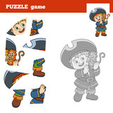 Puzzle Game for children, pirate boy and monkey Stock Photography