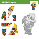 Puzzle game for children, pirate boy and parrot. Puzzle game for children (pirate boy and parrot), education game Stock Photos